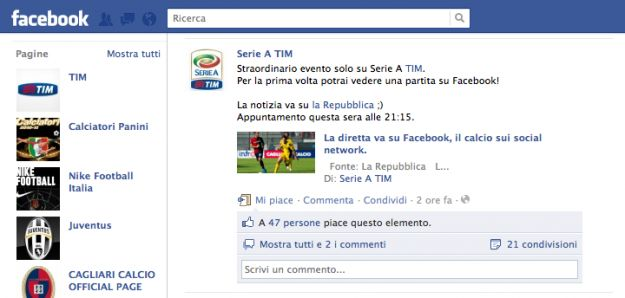 Le partite di calcio in streaming arrivano su Facebook e YouTube