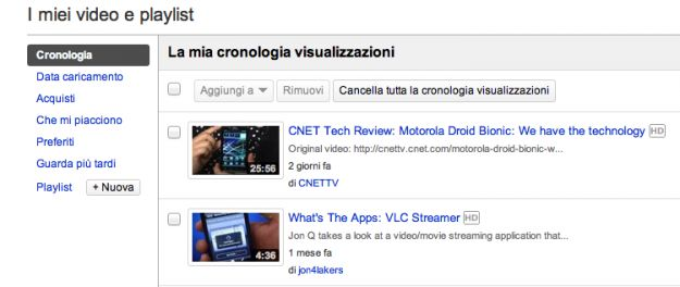 cancellare cronologia youtube