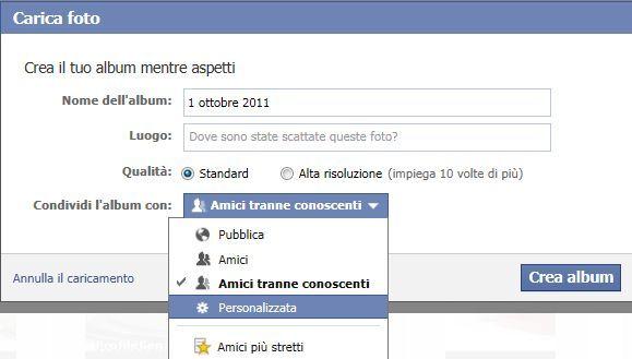 caricare foto facebook privacy
