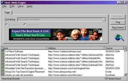 Cercare informazioni su internet con WebFerret