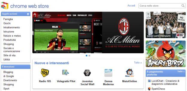 Il Web Store di Google Chrome al via anche in Italia