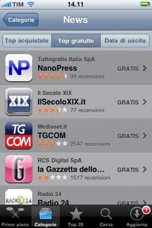 Trackback nell'App di Nanopress: primo nella top news gratuite su iPhone