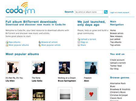 Coda.fm, il nuovo tracker torrent dedicato alla musica