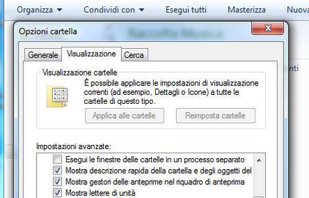 come velocizzare windows 7 disattivare opzioni cartelle