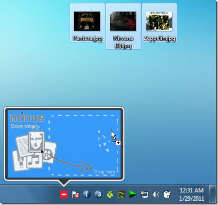 Condividere un file direttamente dal desktop con Min.us