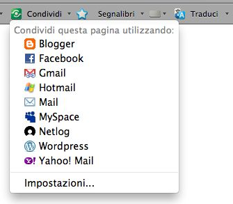 condivisione google toolbar