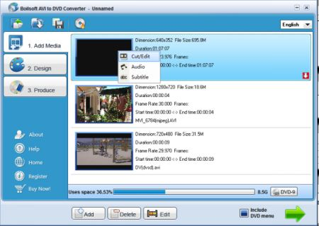 Convertire files AVI in DVD con Boilsoft AVI to DVD Converter