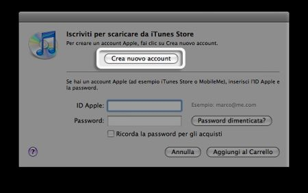 crea nuovo account itunes