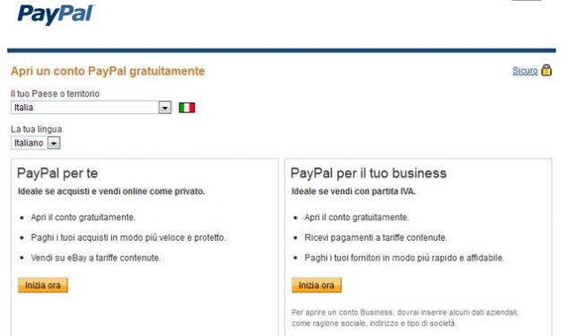 creare account paypal