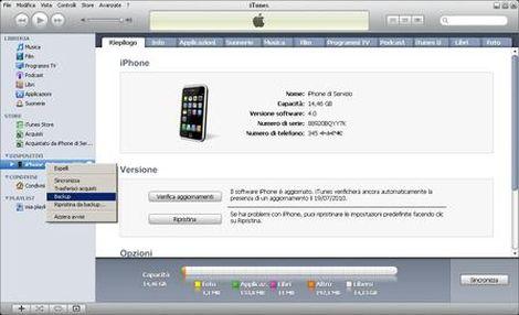 creare backup iphone