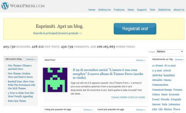 creare blog wordpress