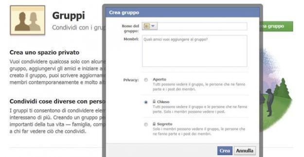 creare gruppo facebook chat
