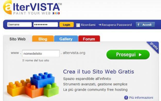 creare sito gratis altervista blog