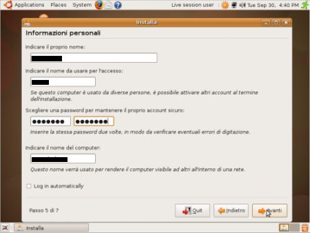 dati personali ubuntu