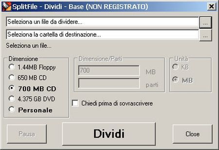 Come dividere un file con Split File