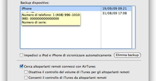 eliminare backup iphone