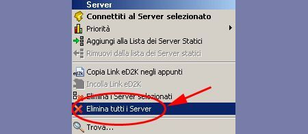 emule server elimina lista