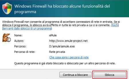 emule firewall sblocca