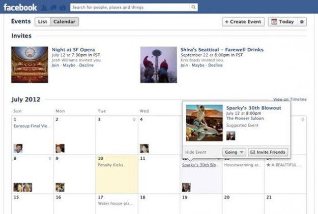 eventi facebook calendario
