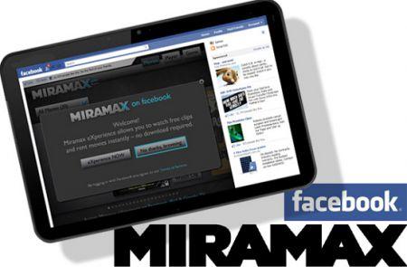 Con l'applicazione Facebook della Miramax  si possono noleggiare i film in streaming