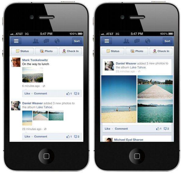 Le app FaceBook per iOS e Android allargano le immagini