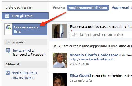 facebook: crea una nuova lista amici