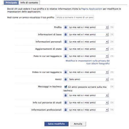 Facebook: i controlli della privacy