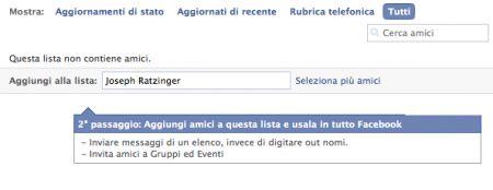 Facebook: scrivete i nomi per aggiungerli ad una Lista Amici