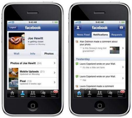 Facebook: applicazione Apple iPhone ed iPod