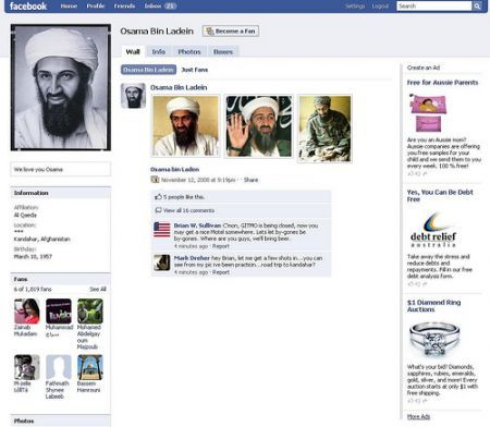 Facebook Osama Bin Laden