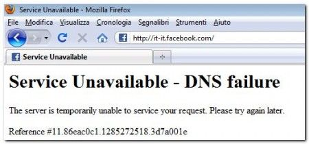 Facebook: Service Unavailable – DNS failure