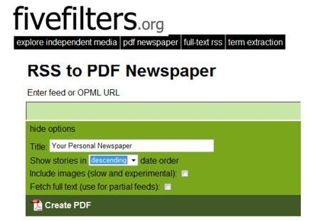 Come convertire feed RSS in PDF