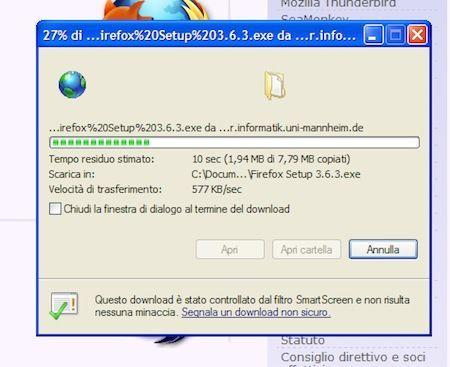 Scaricamento di Firefox in corso