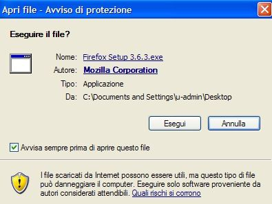 Conferma dell'esecuzione del programma di installazione di Firefox