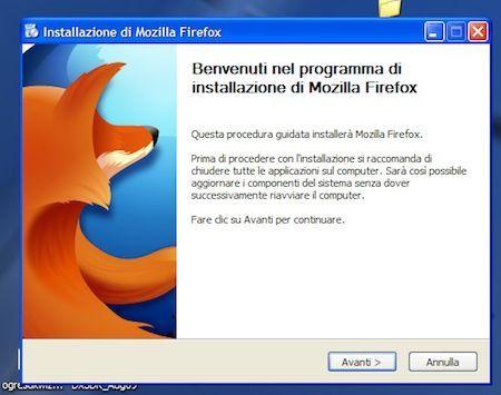 Finestra di benvenuto del programma di installazione di Firefox