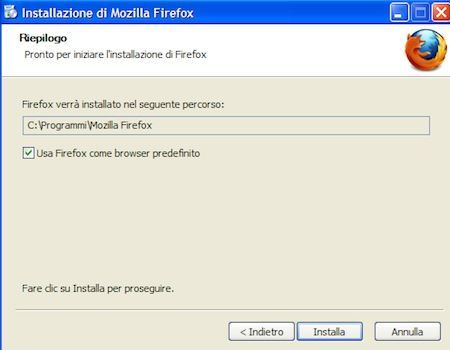 Inizia l'installazione di Mozilla Firefox