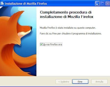 Fine dell'installazione di Firefox