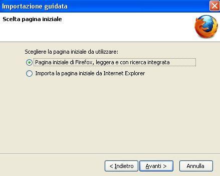 Selezione della pagina iniziale di Firefox