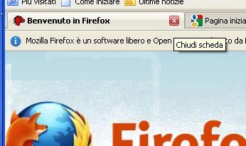 Chiusura della schermata di benvenuto di Mozilla Firefox