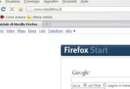 Inserimento di un indirizzo di una pagina web nella barra di navigazione di Firefox