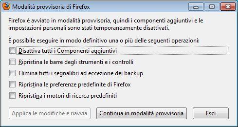 firefox attivare modalita provvisoria