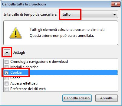 firefox cookie cancellare tutto