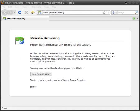firefox 3.1 private browsing