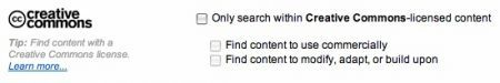 Flickr, l'opzione di ricerca di foto creative commons
