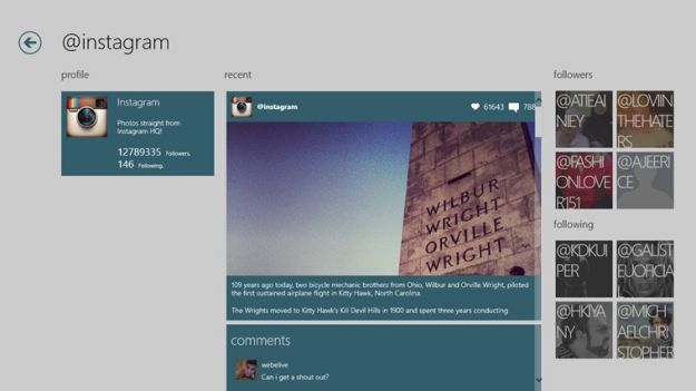 Foto di Instagram su Windows 8 con Piktr