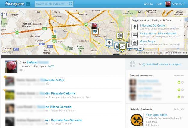 Nuovo look per il sito internet di Foursquare, ecco le novità