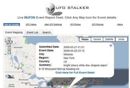 Cercare avvistamenti UFO con UFO Stalker