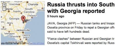 Divertente svarione di Google News: i russi che invadono la Georgia (quella in USA)