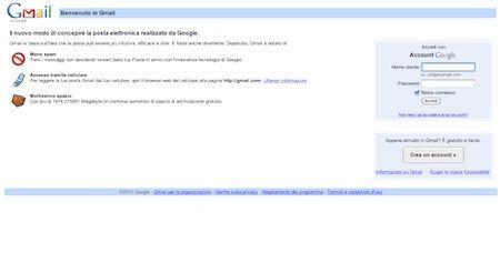 Accesso alla pagina web di Gmail