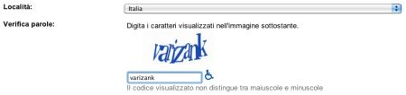 Immissione del captcha